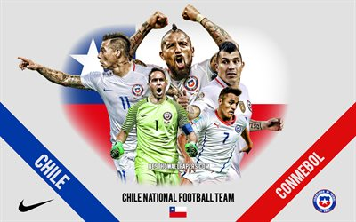 Chile national football team, team leaders, CONMEBOL, Chile, South America, football, logo, emblem, Alexis Sanchеz, Arturo Vidal, Gary Medel