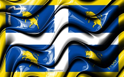 Turin Flag, 4k, Cities of Italy, Europe, Flag of Turin, 3D art, Turin, Italian cities, Turin 3D flag, Italy