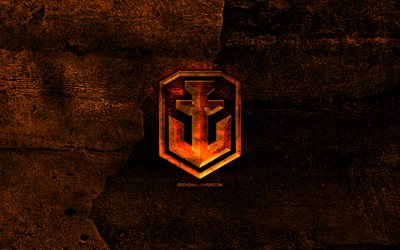 World of Warships fiery logo, games logo, WoWS, orange stone background, World of Warships, creative, World of Warships logo, brands