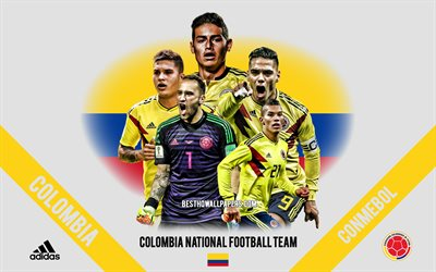 Colombia national football team, team leaders, CONMEBOL, Colombia, South America, football, logo, emblem, James Rodriguez, Radamel Falcao, David Ospina