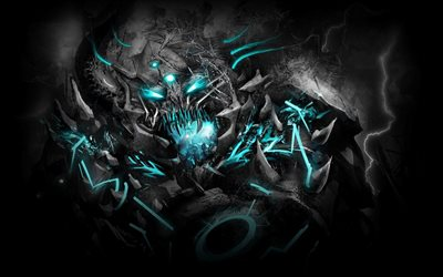 monster, darkness, artwork, monster with blue eyes, night, monsters
