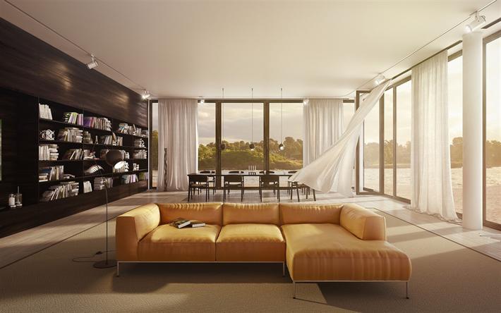 Scarica sfondi soggiorno, interni dal design elegante ...
