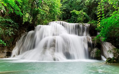 beautiful waterfall, rainforest, jungle, Kanchanaburi, Thailand, Erawan Waterfall