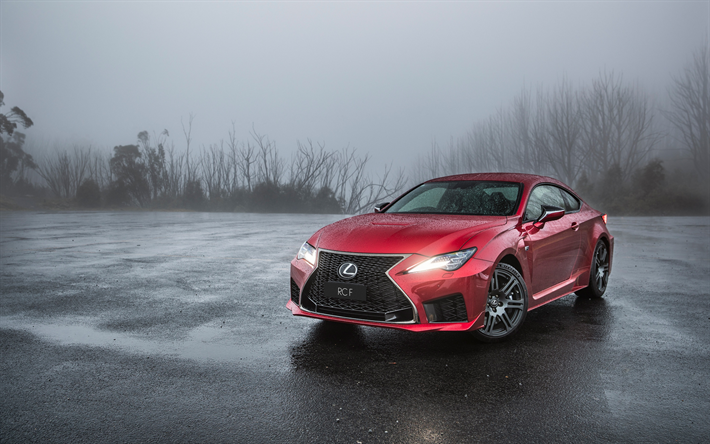 Download Wallpapers Lexus Rc F 2019 Red Sports Coupe Front View