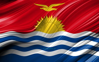 4k, Kiribati flag, Oceanian countries, 3D waves, Flag of Kiribati, national symbols, Kiribati 3D flag, art, Oceania, Kiribati