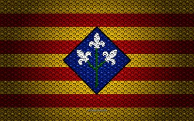 Flag of Lleida, 4k, creative art, metal mesh texture, Lleida flag, national symbol, provinces of Spain, Lleida, Spain, Europe