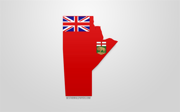 Map Of Canada Silhouette.Download Wallpapers Manitoba Map Silhouette 3d Flag Of Manitoba