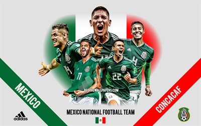 Mexico national football team, team leaders, CONCACAF, Mexico, South America, football, logo, emblem, Hirving Lozano, Carlos Vela