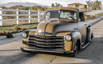 Chevrolet 3100, Pickup Truck, 1947, Custom Chevy 3100, gray matte pickup truck, lowrider, retro cars, american classic cars, Chevrolet