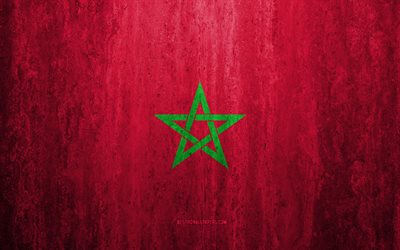 Flag of Morocco, 4k, stone background, grunge flag, Africa, Morocco flag, grunge art, national symbols, Morocco, stone texture