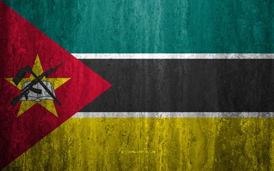 Flag of Mozambique, 4k, stone background, grunge flag, Africa, Mozambique flag, grunge art, national symbols, Mozambique, stone texture