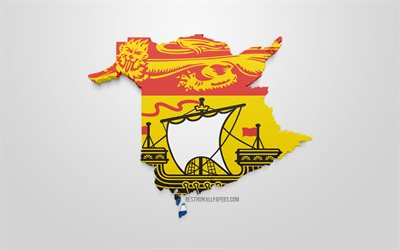 New Brunswick map silhouette, 3d flag of New Brunswick, province of Canada, 3d art, New Brunswick 3d flag, Canada, North America, New Brunswick, geography, New Brunswick 3d silhouette