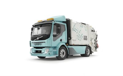 Volvo FL, garbage truck, electric truck, white background, new FL, swedish trucks, electric garbage truck, Volvo