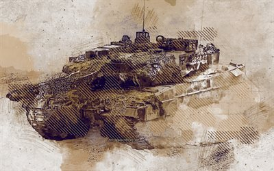 Leopard 2, German main battle tank, grunge art, creative art, painted Leopard 2, drawing, Leopard 2 grunge, Leopard 2A6, digital art