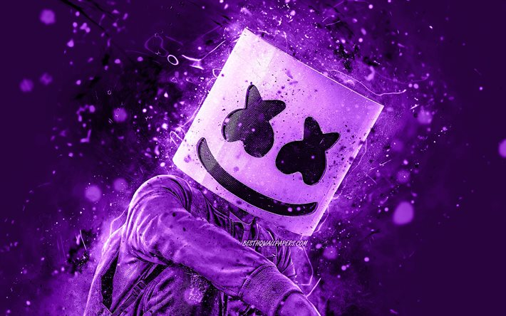 DJ Marshmello, 4K, violeta luzes de neon, superstars, Christopher Comstock, american DJ, estrelas da música, fã de arte, Marshmello 4K, violeta fundos, criativo, Marshmello, DJs