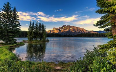 Banff National Park, mountains, sunset, lake, Alberta, Canada