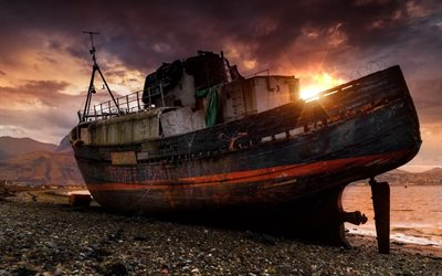 abandoned boat, coast, sea, sunset