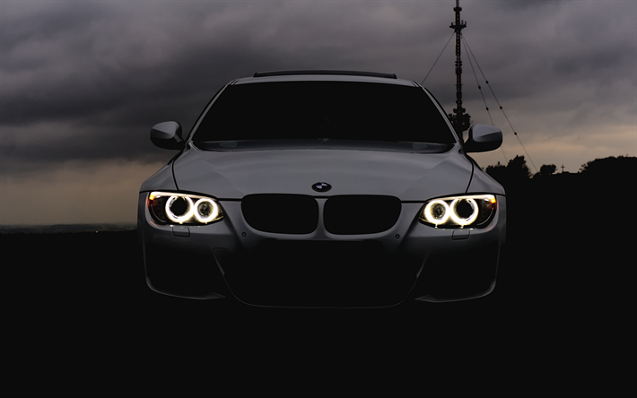 Download Wallpapers Bmw M3 Darkness E92 Headlights 4k White M3