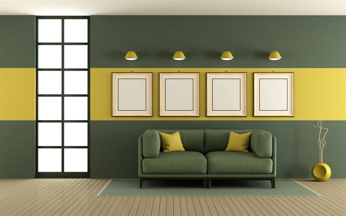 Scarica sfondi elegante soggiorno pareti verdi minimalismo