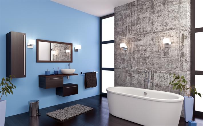 Exceptionnel élégante Salle De Bains De Lu0027intérieur, De Style Loft, Des Murs Peints