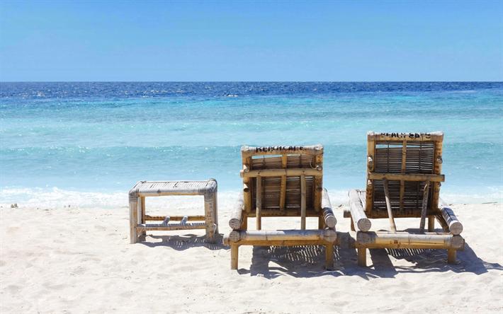 Tropical Island Beach Chairs From Bamboo Sand Ocean Waves