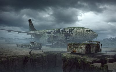 abandoned airport, life after people, grunge, plane, art, creative