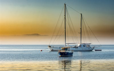 yachts in the sea, sailboat, white big yacht, sunset, evening, seascape