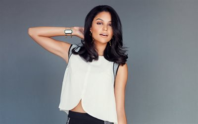 Bianca Santos, american actress, portrait, photoshoot, white dress, beautiful woman