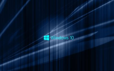 windows 10, dunkelblau abstraktion, emblem, win10, windows