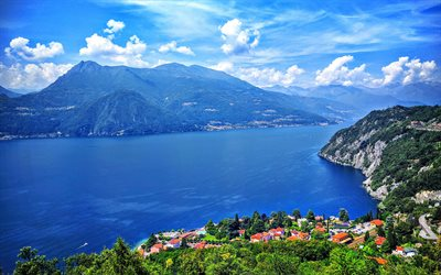 Download Wallpapers Lake Como Summer Mountains Blue Sky