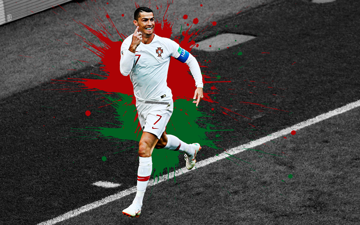 Download Wallpapers Cristiano Ronaldo 4k Portugal National Football Team Football Game Green Red Splashes Of Paint Grunge Art Creative Art Portugal Cr7 Football Superstar For Desktop Free Pictures For Desktop Free