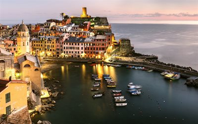 Vernazza, Mediterranean Sea, coast, beautiful city, bay, evening, sunset, Province of La Spezia, Italy
