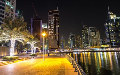 Dubai, night, embankment, bay, yachts, UAE, skyscrapers, cityscape