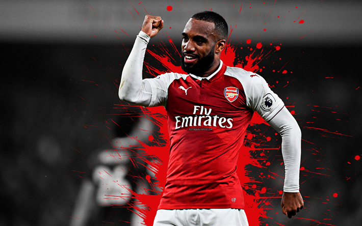 Download Wallpapers Alexandre Lacazette 4k Arsenal Fc Art French