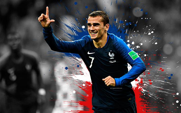 Download wallpapers Antoine Griezmann, 4k, France national football team, art, splashes of paint ...