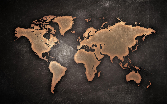 rusty metal world map, 4k, creative, world map concept, artwork, world map, rusty world map, world maps, metal world map