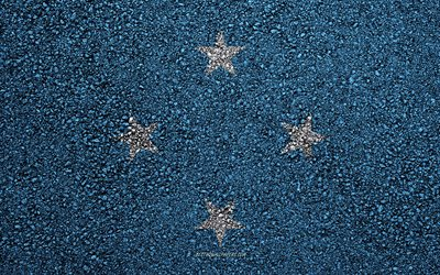 Flag of Micronesia, asphalt texture, flag on asphalt, Micronesia flag, Oceania, Micronesia, flags of Oceania countries