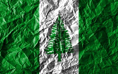 Norfolk Island flag, 4k, crumpled paper, Oceanian countries, creative, Flag of Norfolk Island, national symbols, Oceania, Norfolk Island 3D flag, Norfolk Island