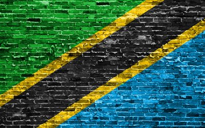 4k, Tanzanian flag, bricks texture, Africa, national symbols, Flag of Tanzania, brickwall, Tanzania 3D flag, African countries, Tanzania