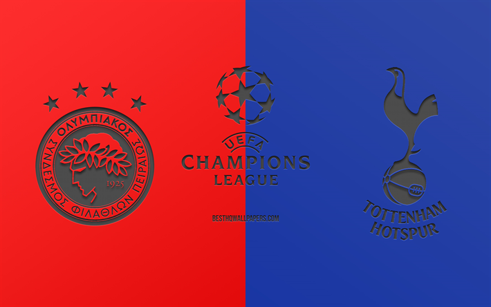 Download Wallpapers Olympiakos Vs Tottenham Football Match 2019 Champions League Promo Red Blue Background Creative Art Uefa Champions League Football For Desktop Free Pictures For Desktop Free