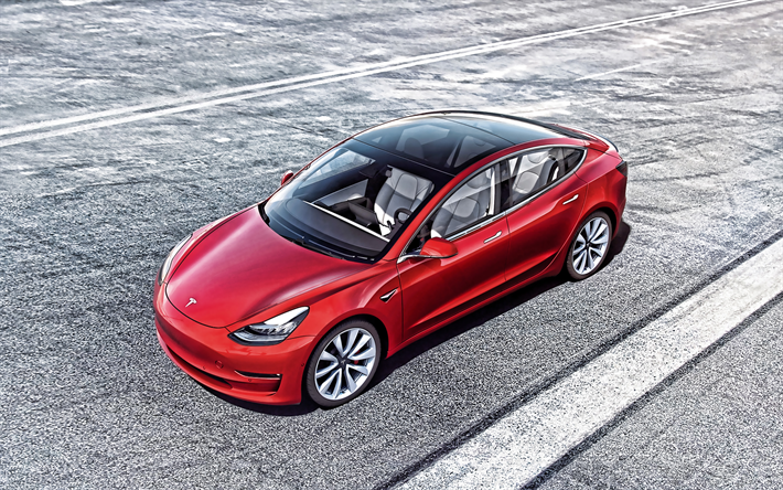 Download Wallpapers Tesla Model 3 2019 Exterior Front