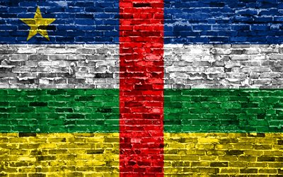 4k, CAR flag, bricks texture, Africa, national symbols, Flag of Central African Republic, brickwall, CAR 3D flag, African countries, Central African Republic