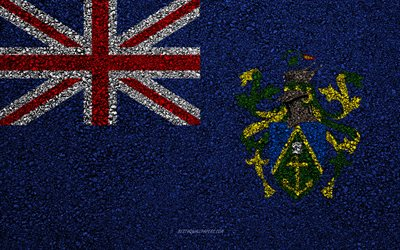 Flag of Pitcairn Islands, asphalt texture, flag on asphalt, Pitcairn Islands flag, Oceania, Pitcairn Islands, flags of Oceania countries
