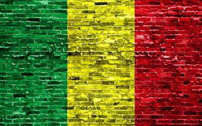 4k, Mali flag, bricks texture, Africa, national symbols, Flag of Mali, brickwall, Mali 3D flag, African countries, Mali