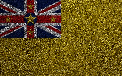 Flag of Niue, asphalt texture, flag on asphalt, Niue flag, Oceania, Niue, flags of Oceania countries