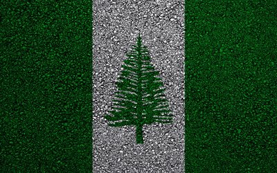 Flag of Norfolk Island, asphalt texture, flag on asphalt, Norfolk Island flag, Oceania, Norfolk Island, flags of Oceania countries