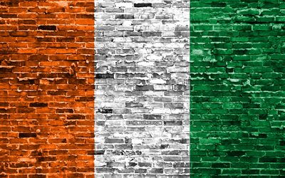 4k, Cote d Ivoire flag, bricks texture, Africa, national symbols, Flag of Cote d Ivoire, brickwall, Cote d Ivoire 3D flag, African countries, Cote d Ivoire
