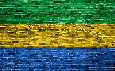 4k, Gabonese flag, bricks texture, Africa, national symbols, Flag of Gabon, brickwall, Gabon 3D flag, African countries, Gabon