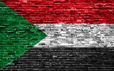 4k, Sudanese flag, bricks texture, Africa, national symbols, Flag of Sudan, brickwall, Sudan 3D flag, African countries, Sudan