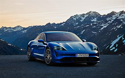 Porsche Taycan Turbo, 2019, 4K, front view, exterior, new blue Taycan Turbo, sports sedan, German cars, Porsche